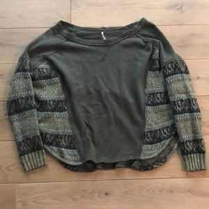 Free People Green Mixed Media Top